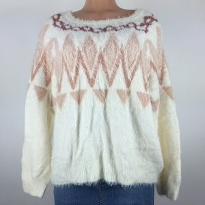 Lauren Conrad White Peach Fuzzy Sweater SZ XL